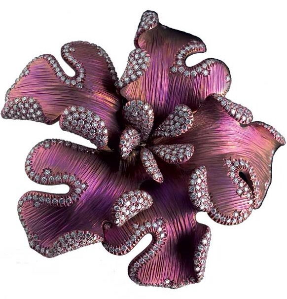 {Daily Jewel} Titanium and Diamond Flower Brooch by Giovanni Ferraris | Haute Tramp