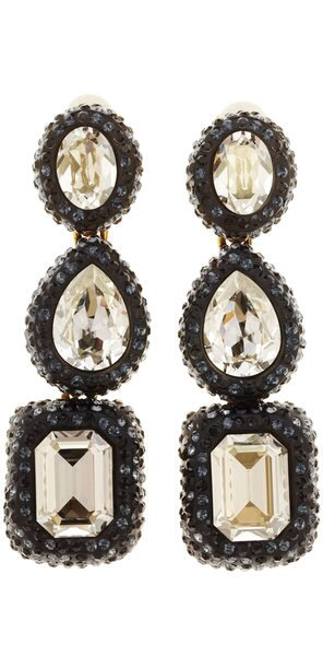 Black Triple Drop Crystal Earrings by Oscar de la Renta | Holiday Color Crush - Gold, Black and Crystal | Haute Tramp
