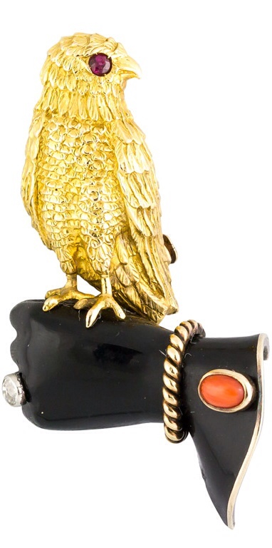 {Daily Jewel} Cartier Paris 1939 Diamond Ruby Coral Gold Falconry Brooch