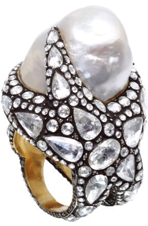 Sevan Ring | Features a sprinkling of white pear shaped and round rose-cut diamonds all set in blackened precious metal and topped with a sizable white Baroque pearl