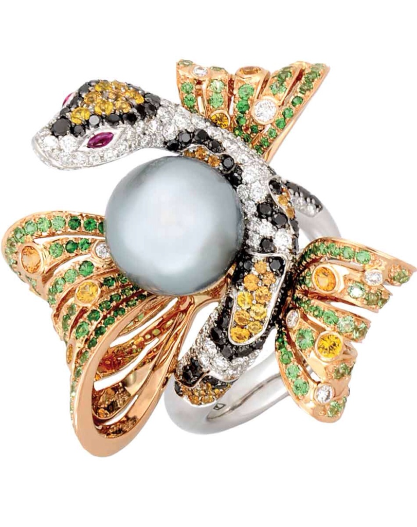 Gemstone and pearl ring by Sartoro