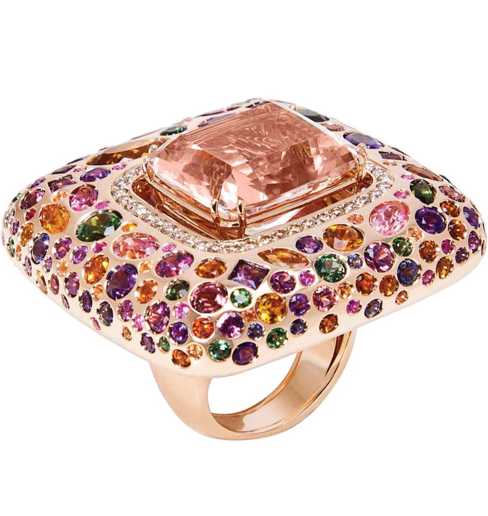 Multi-coloured gemstone, and diamond ring by Opera Omnia