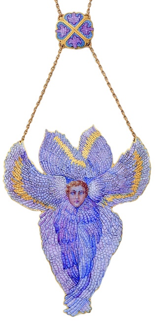 A gold and enamel trompe l'oeil enamel mosaic pendant by Rozet & Fischmeister, Vienna, circa 1905.
