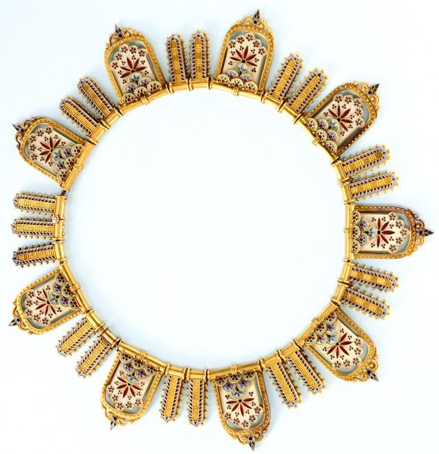 Gold and enamel necklace attributed to Giacinto Melillo, Napoli, 1870 to 1880, features nine large escutcheons and incorporates decorative elements from antiquity to the Renaissance.