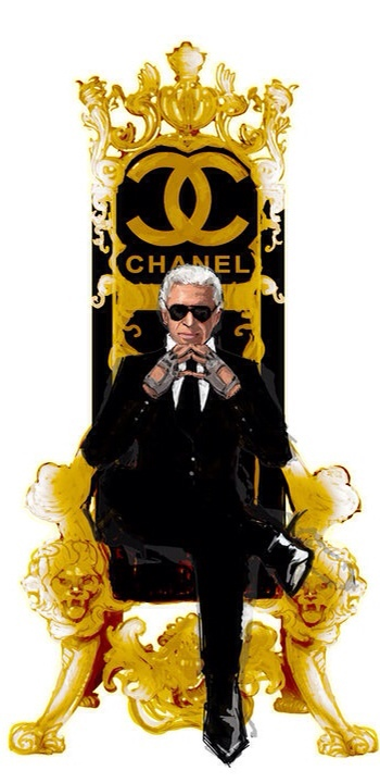 Drawing of Karl Lagerfield, his most honored and revered Emperor of Chanel Couture