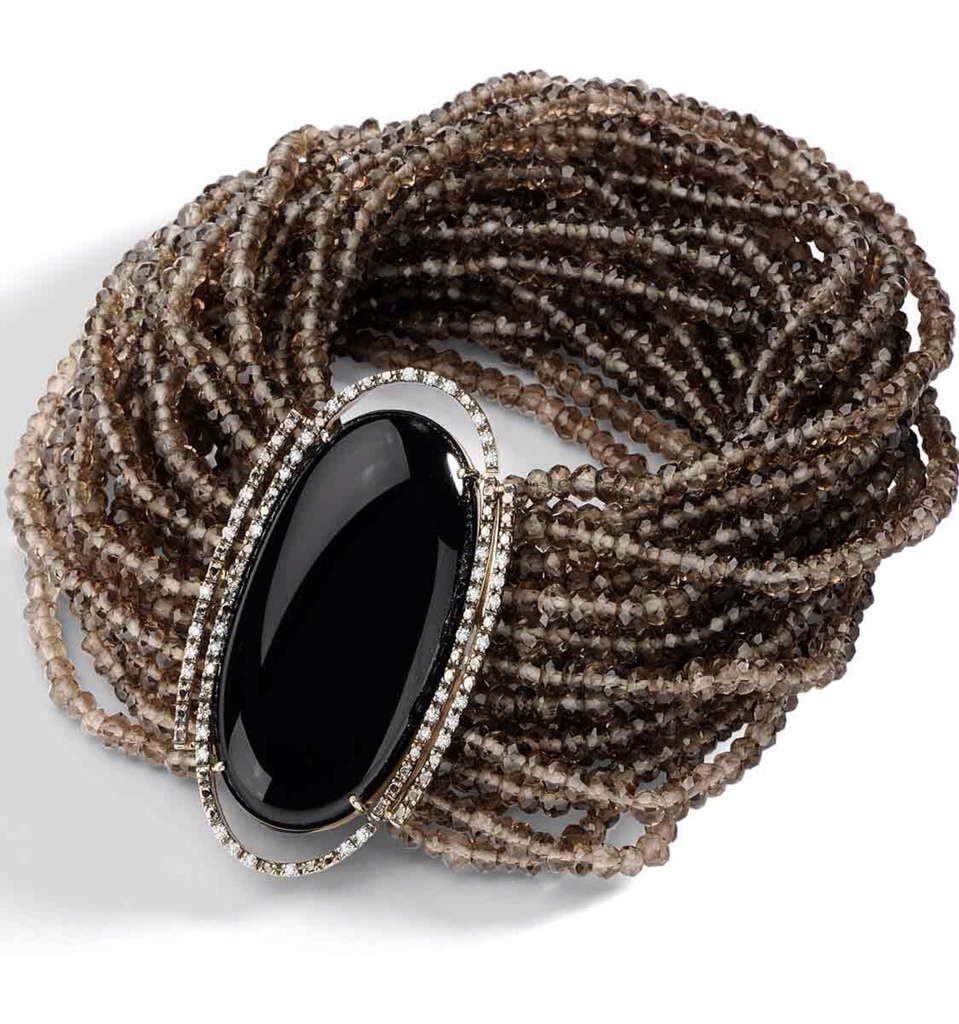 Jewel Worthy-Smoky Quartz Beaded Bracelet by Brumani