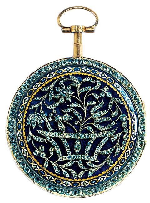Jewelry Style | Timeless Design | A circa 1770 pocket watch with works by Pierre Viala, Geneva. The exterior features gold, silver, diamonds, glass, and enamels.