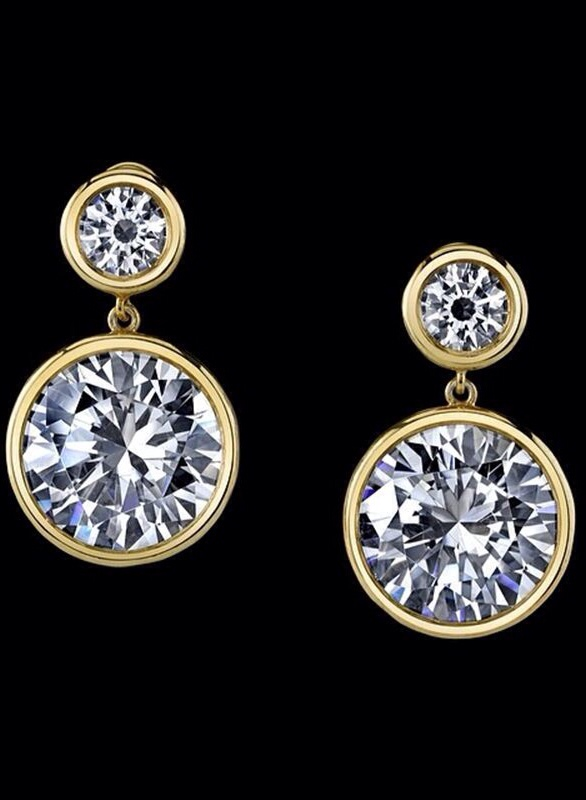 42 Carat yellow gold round diamond drop earrings from the Robert Procop Exceptional Jewels Collection