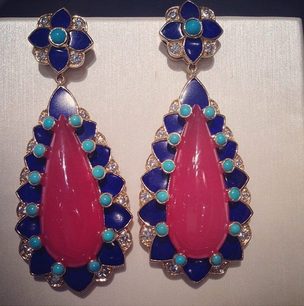Tiffany & Co. Blue Book Collection 18k yellow gold rhodochrosite, lapis and turquoise earrings with diamonds