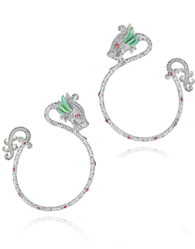 Harumi for Chopard Dragon earrings with rubies, diamonds, emeralds and turquoise via Haute Tramp