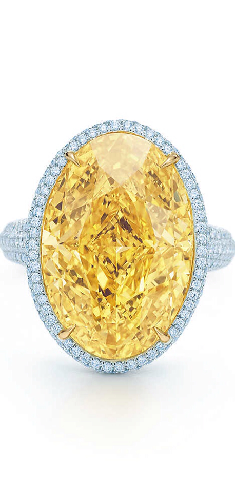 {Gorgeous Ring No.19} OVAL YELLOW DIAMOND RING $3,800,000 For more information, please call Customer Service at 800 518 5555.    +SAVE THIS ITEM   EMAIL / PRINT / SHARE A radiant Tiffany Yellow Diamond is framed by white diamonds set in platinum and 18k gold. Carat weight: oval Fancy Vivid Yellow diamond, 15.04. Carat total weight: round brilliant diamonds, 1.19., $3,800,000