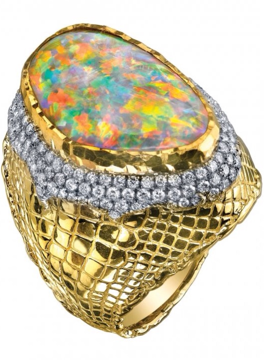 Ring No. 7-Opal and Diamond Ring by Victor Velyan