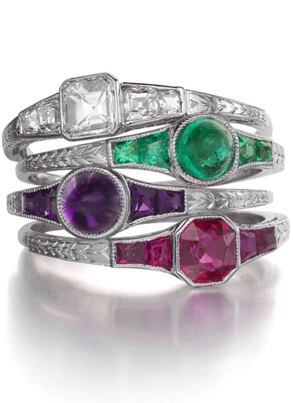 {30 GORGEOUS RINGS IN JUNE} RINGS NO. 30-ART DECO JEWELED STACK RINGS BY THEODORE B. STARR