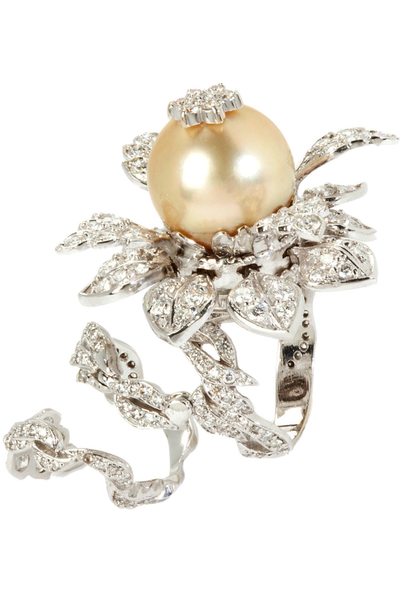 {Daily Jewel} Pearl Diamond Gold Tremble Ring