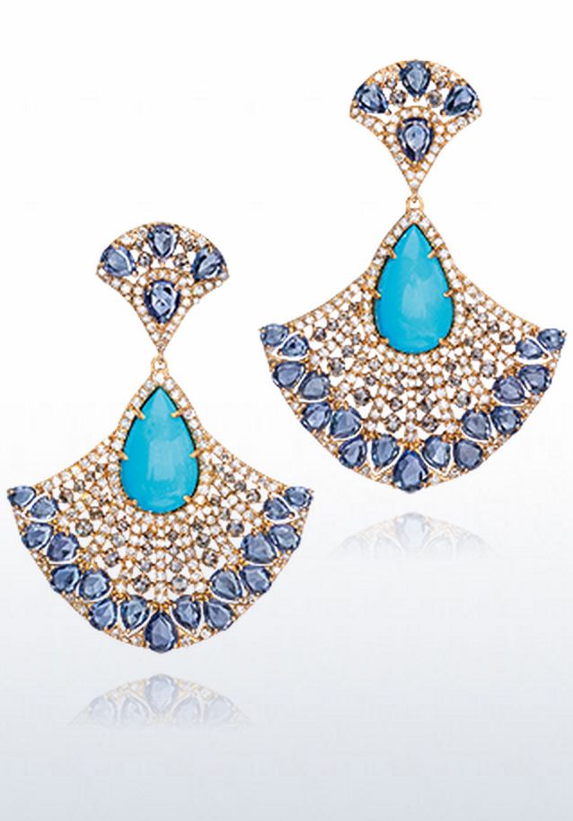 {Daily Jewel} Turquoise Fan Earrings by Cellini Jewelers