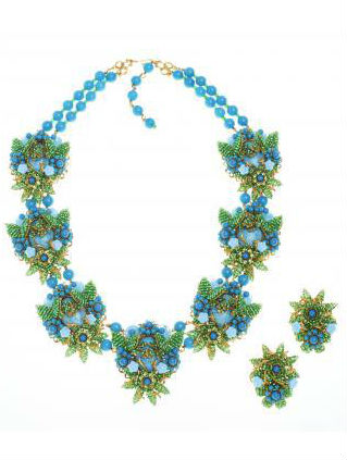 Green and Blue Flower Beaded Demi Parure by Stanley Hagler via Haute Tramp