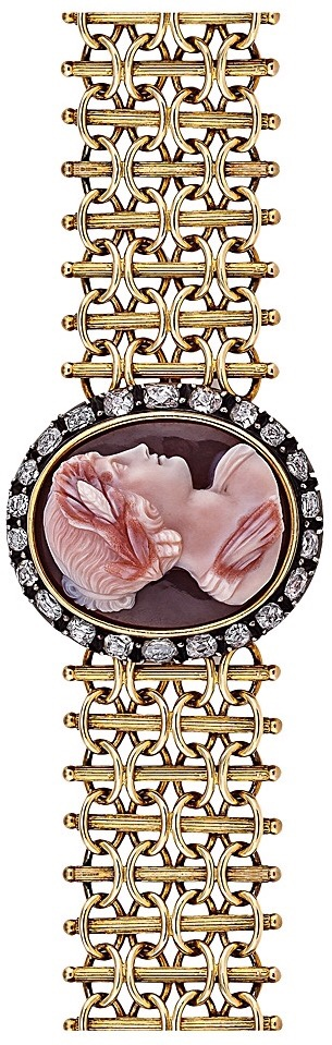 {Daily Jewel} Victorian Diamond Gold Carved Hardstone Cameo Bracelet
