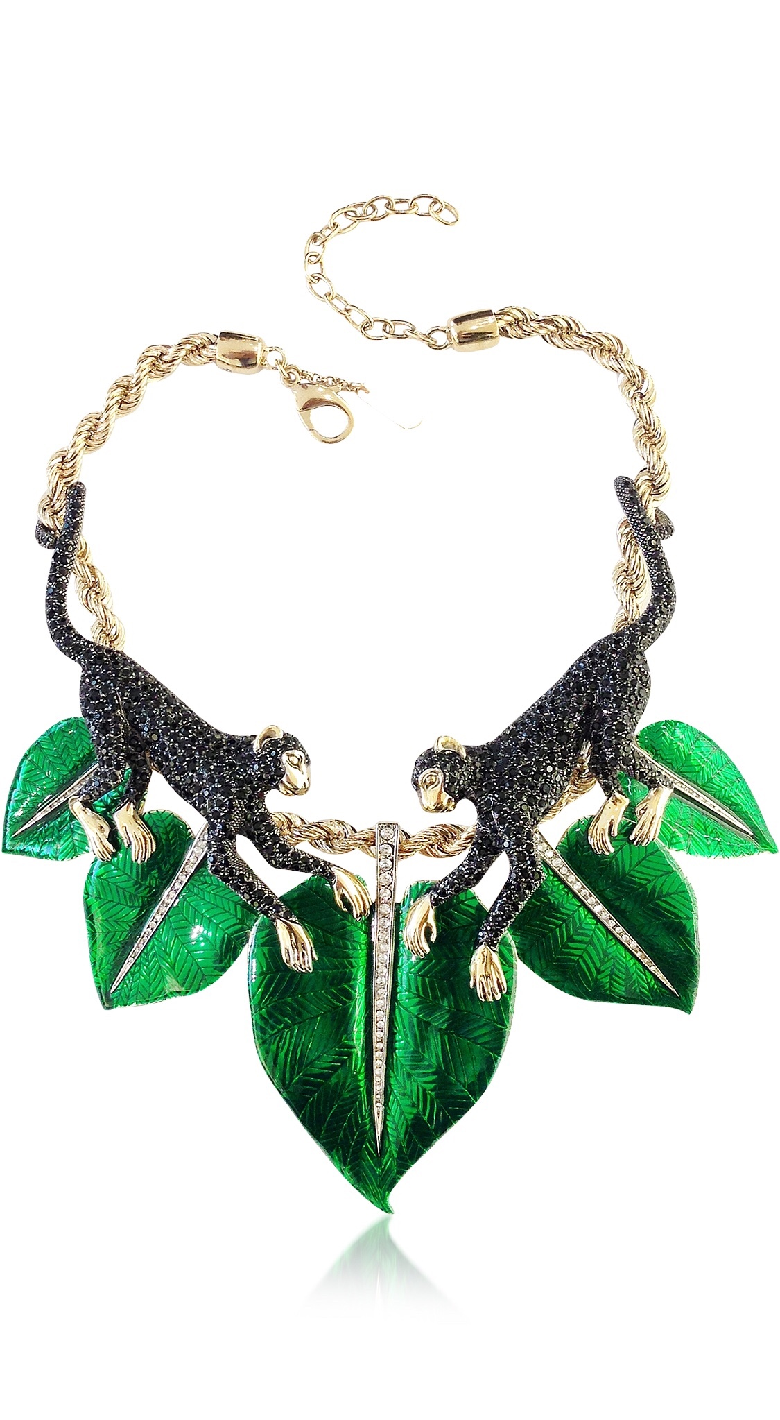 {Spring Statement Jewelry 2015} Animal Kingdom Golden and Enamel Crystal Choker Necklace by ROBERTO CAVALLI