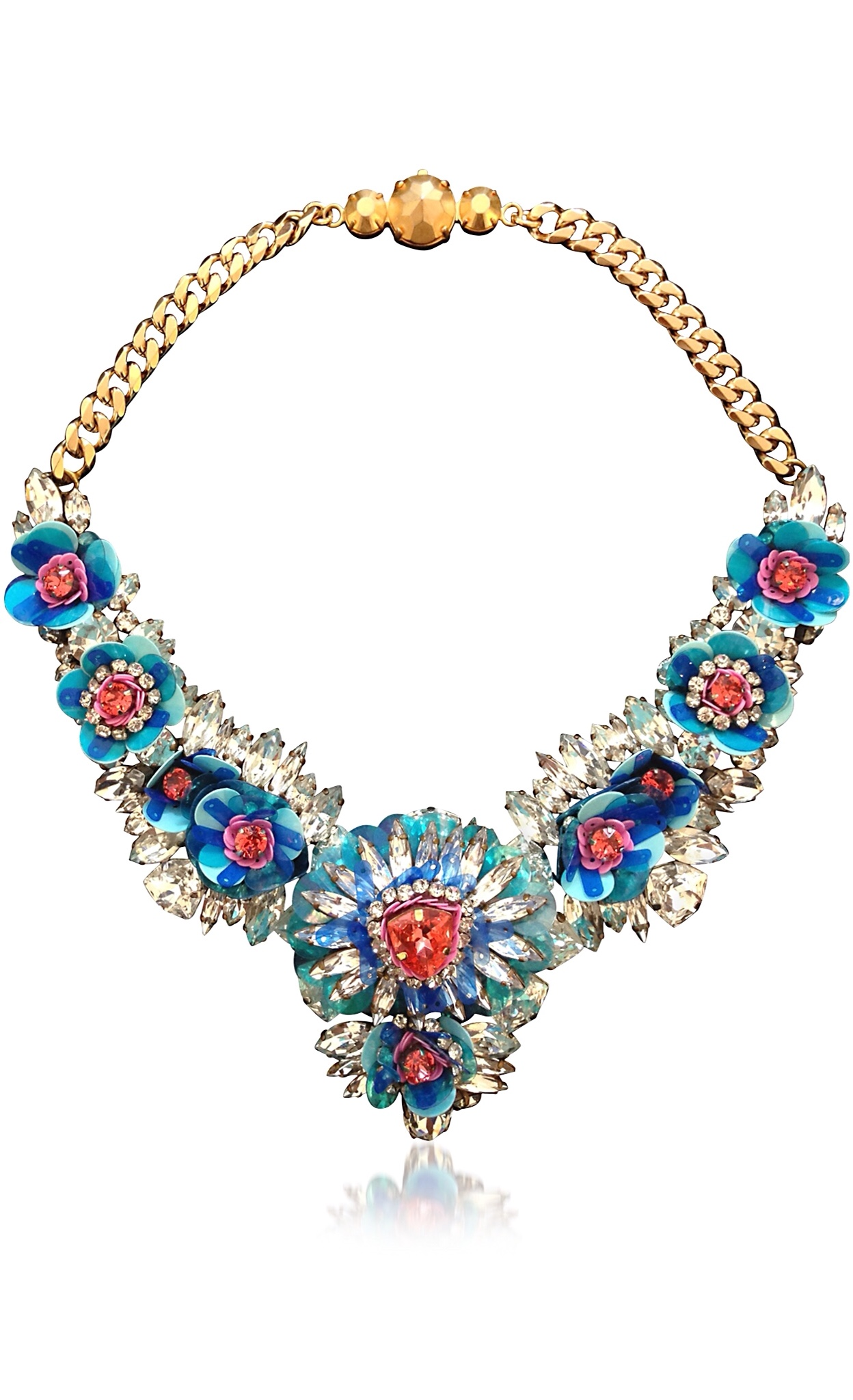 {Spring Statement Jewelry 2015} Blue Apolonia Flower Necklace w/Crystals and Sequins by SHOUROUK