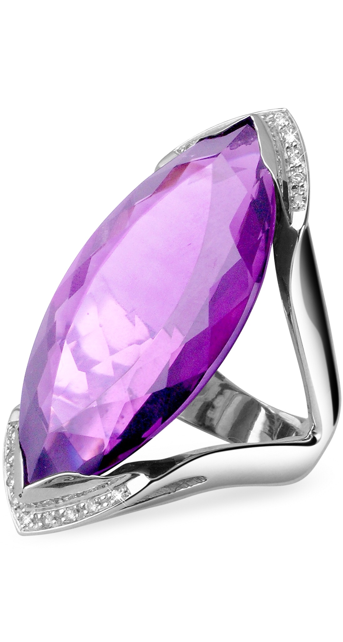 {Spring Statement Jewelry 2015} Amethyst and Diamond White Gold Fashion Ring by FORZIERI