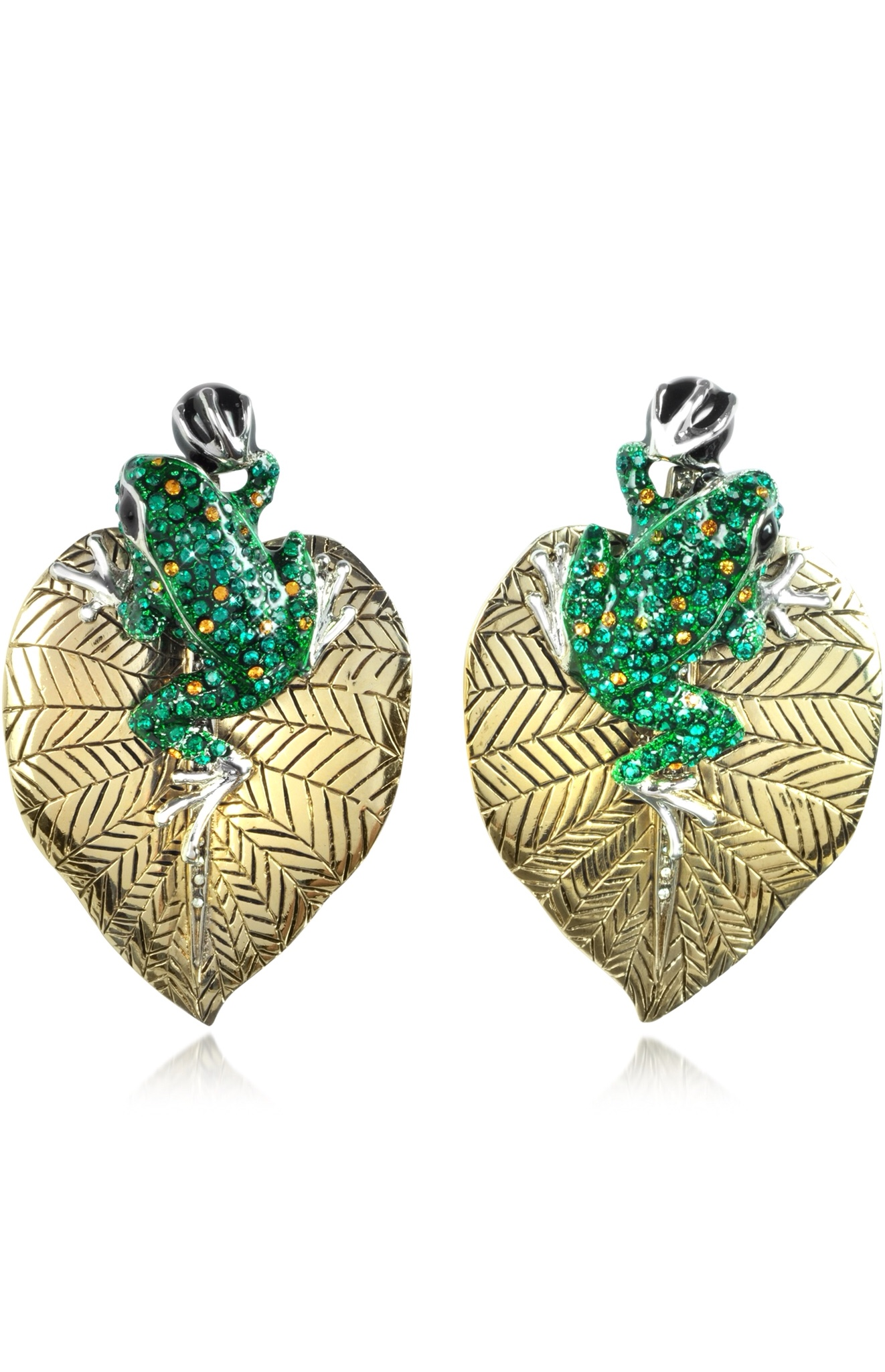 Animal Kingdom Clip on Earrings w/Crystal by ROBERTO CAVALLI