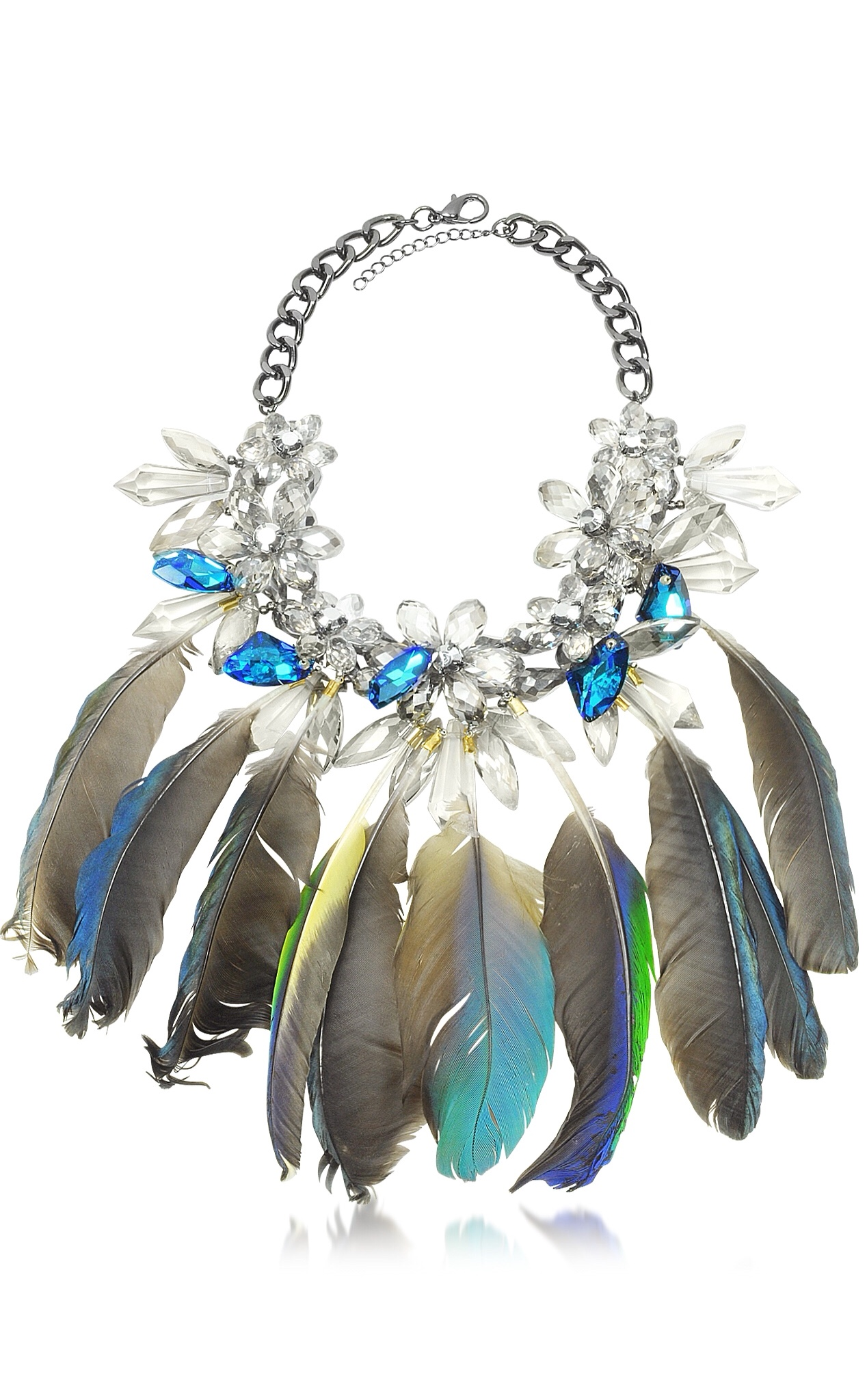{Spring Statement Jewelry 2015} Crystals and Feathers Necklace by ANABELA CHAN