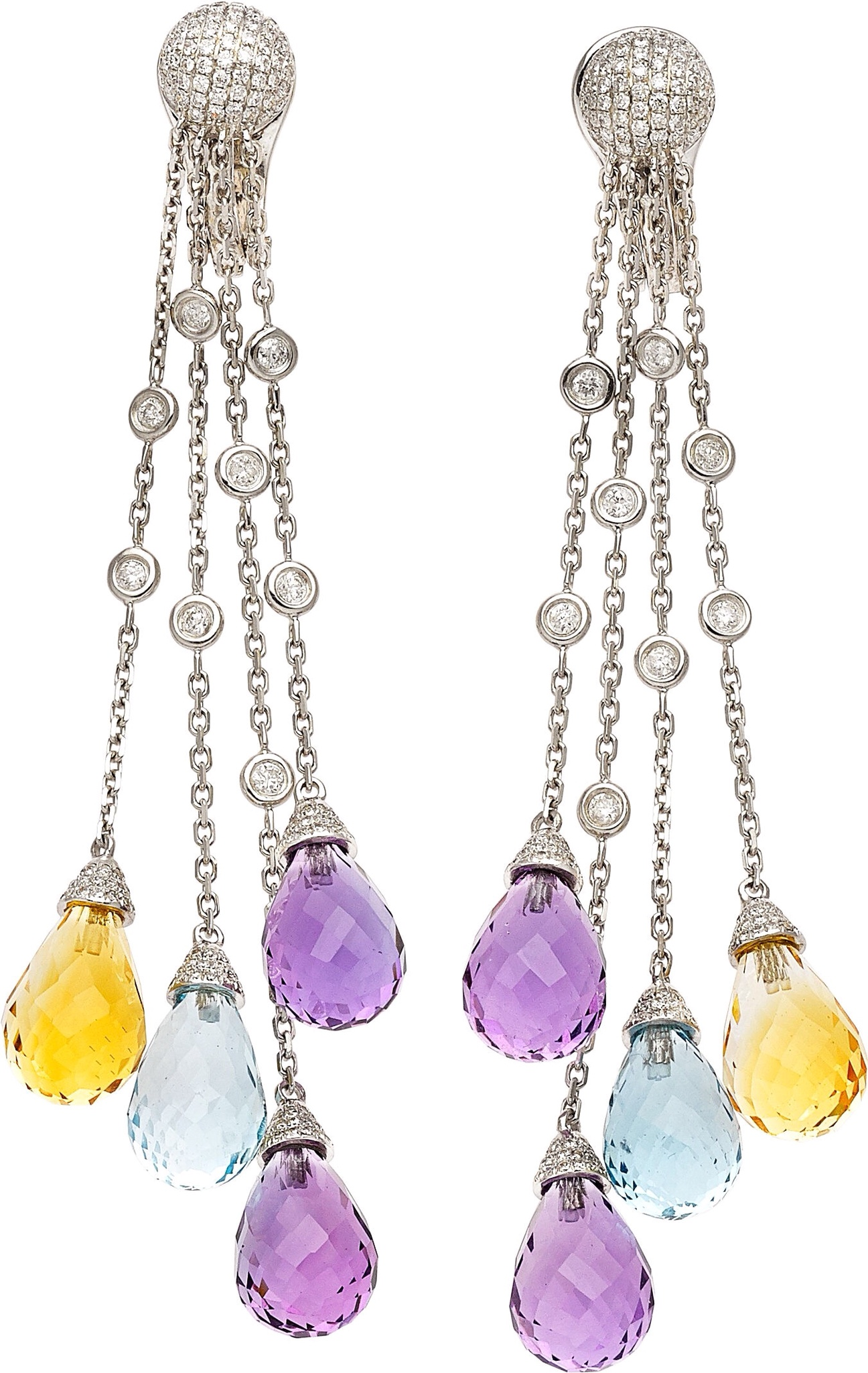 Multi-Stone and Diamond Earrings via Haute Tramp