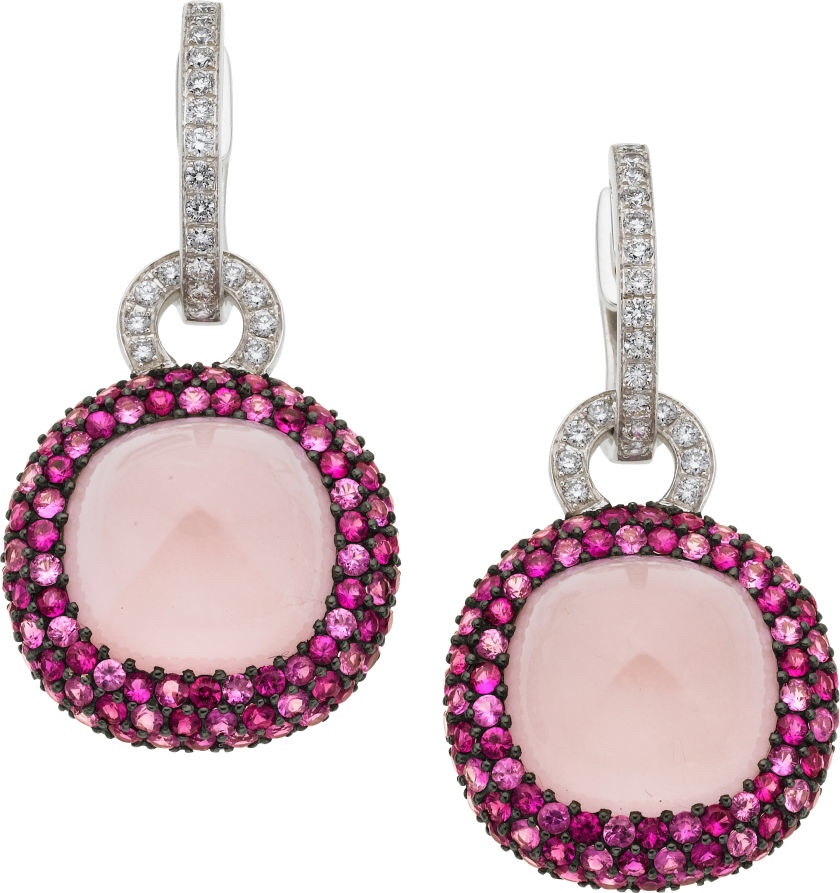 {Diamond, Pink Sapphire, Rose Quartz, White Gold Earrings}