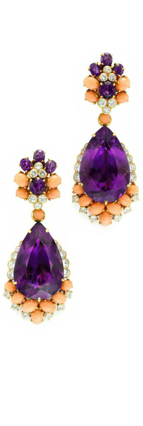 A Pair of Amethyst Coral and Diamond Ear Pendants by Van Cleef Arpels, via Haute Tramp