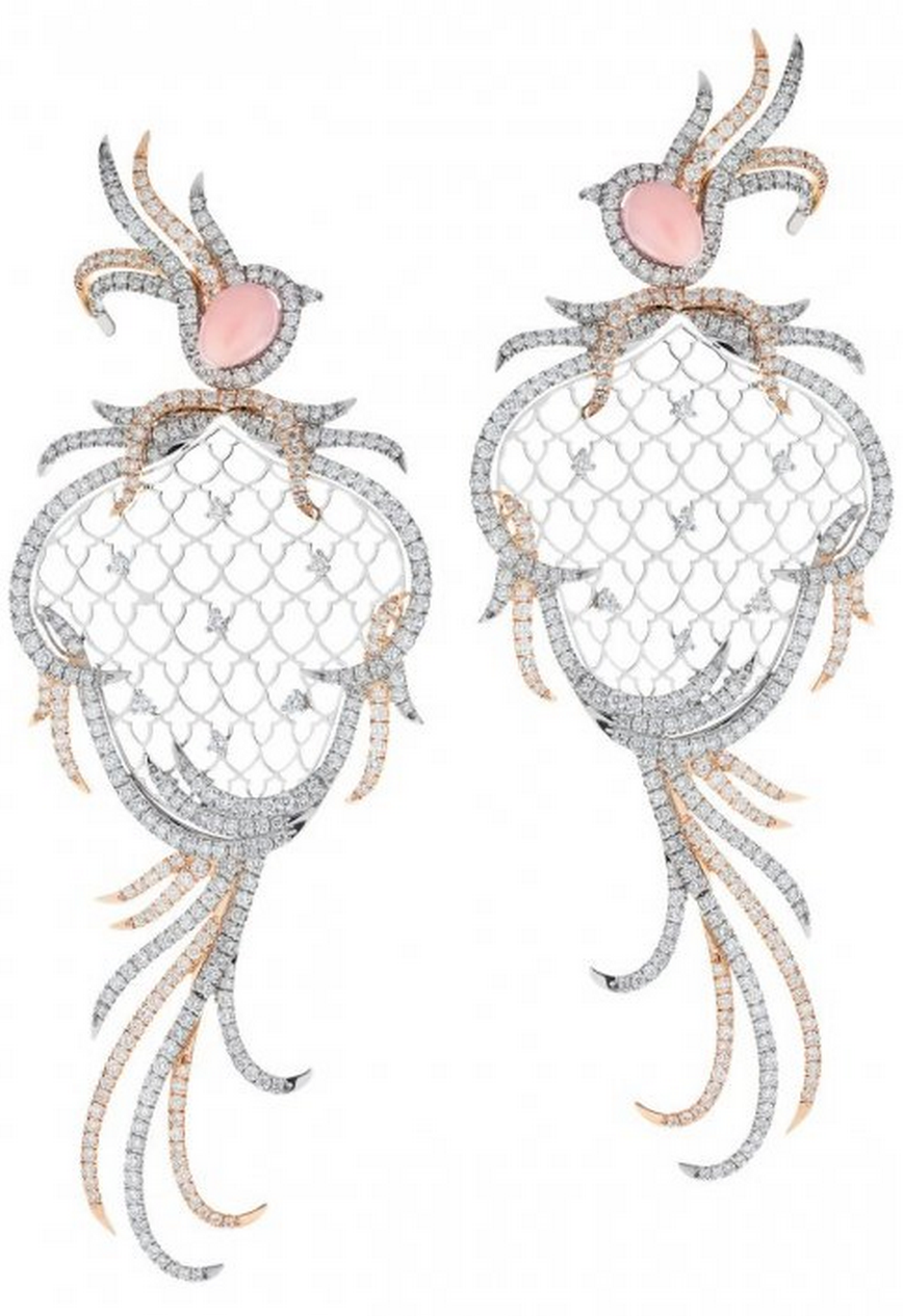 Platinum and rose gold earrings set with diamonds and conch shells by SHO via Haute Tramp