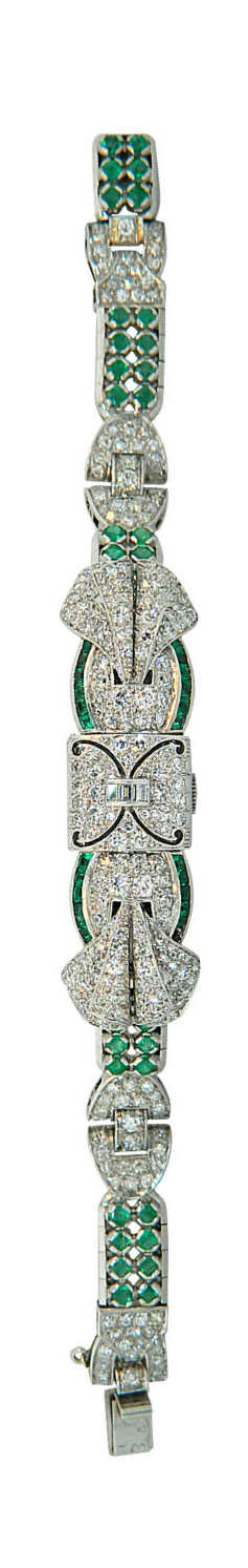 {Daily Jewel} Verger Freres Lady's Platinum Emerald Diamond Bracelet Wristwatch