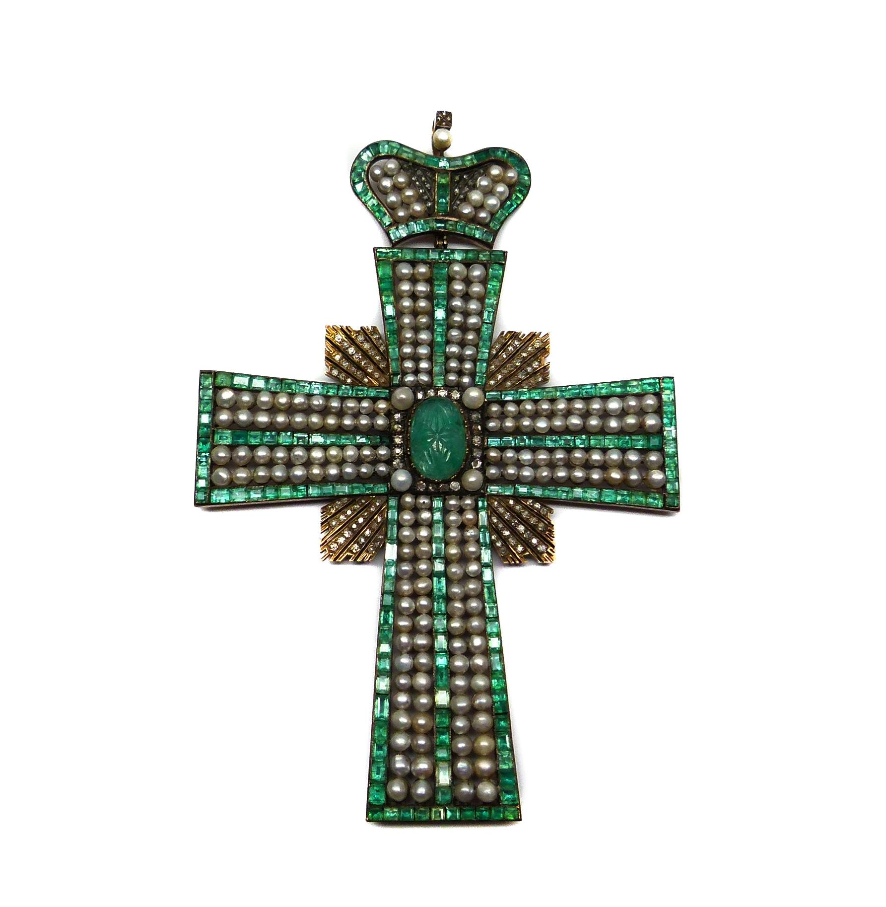 Large 19th century emerald, pearl and diamond cross pendant with coronet surmount, Russian c.1850 - See more at: http://www.masterart.com/Large-19th-century-emerald-pearl-and-diamond-cross-pendant-with-coronet-surmount