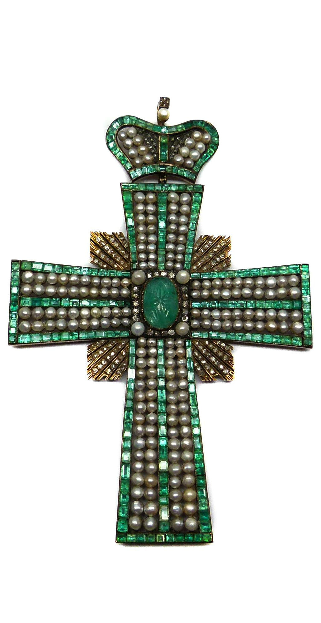 {Daily Jewel} Large 19th century emerald pearl and diamond cross pendant c.1850