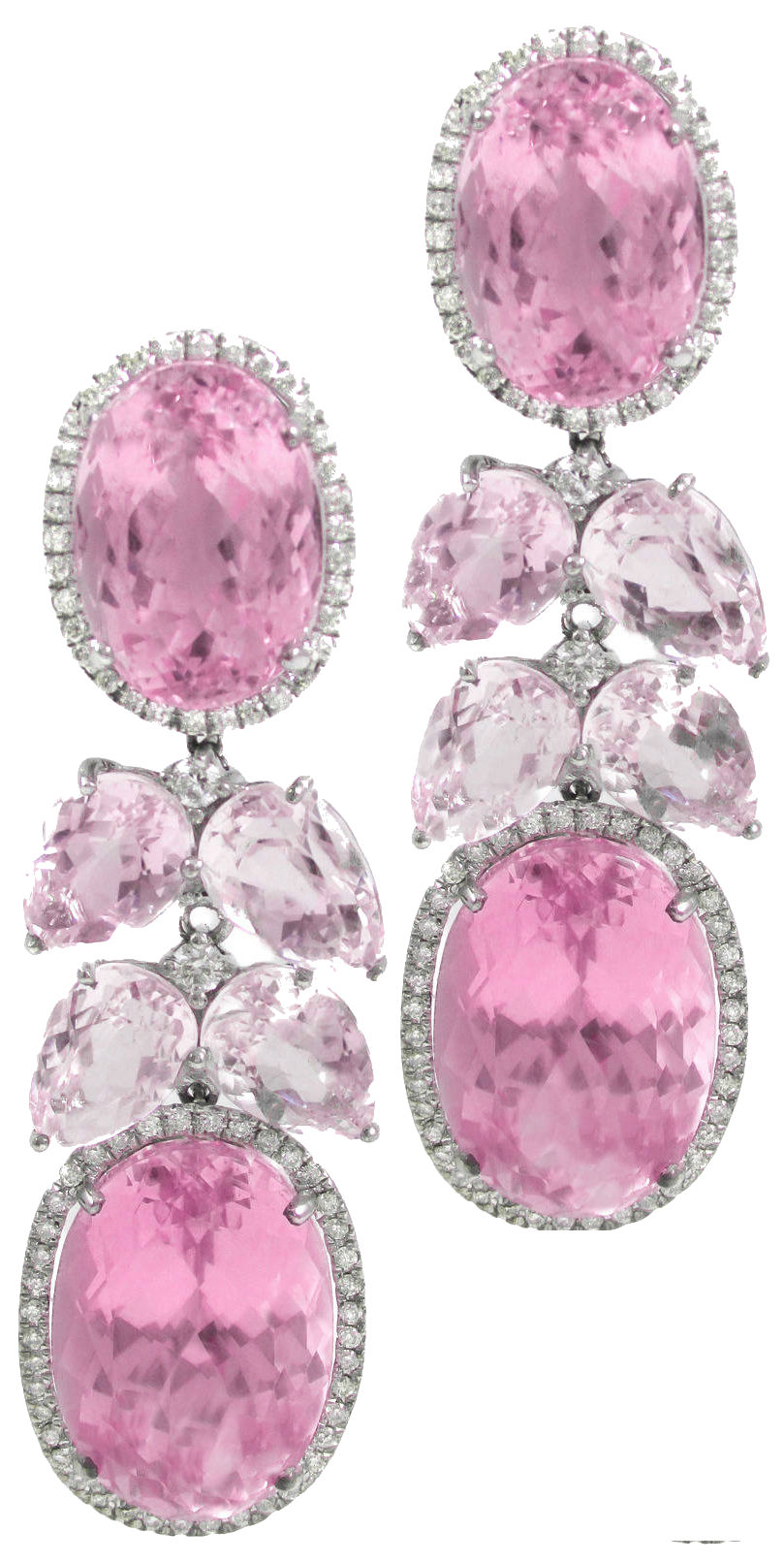 Pink Kunzite Diamond Waterfall Earrings Daily Jewel Haute Tramp