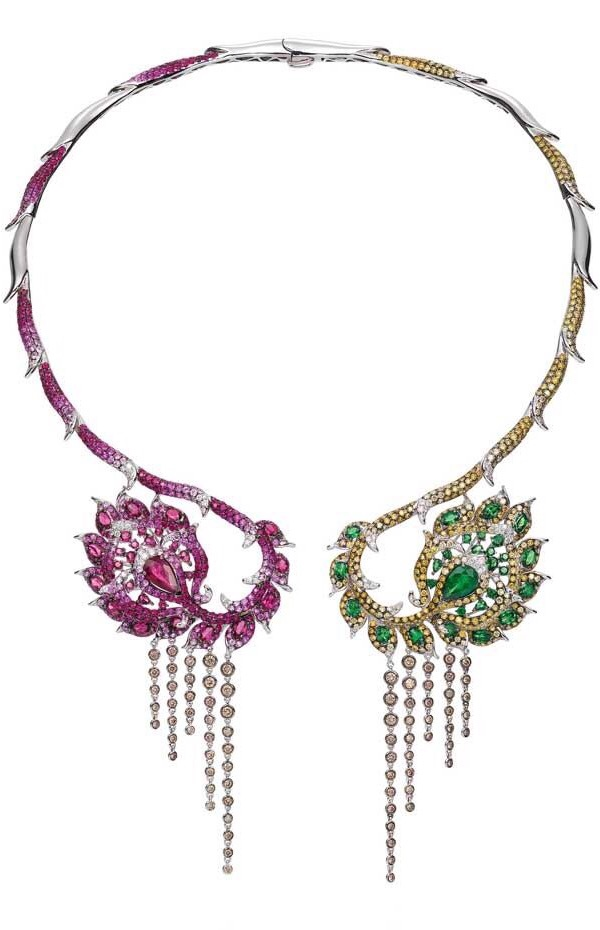 {Daily Jewel} Open collar necklace with champagne diamonds, tsavourites, rubellite, pink sapphire, ruby, white diamonds and golden diamonds by Wendy Yue