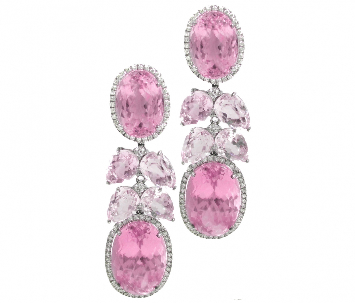 {Daily Jewel} Pink Kunzite Diamond Waterfall Earrings via Haute Tramp