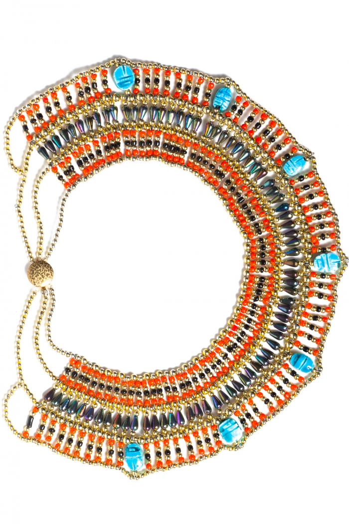 Vintage Egyptian Revival Beaded Bib Necklace, circa 1970's | Haute Tramp