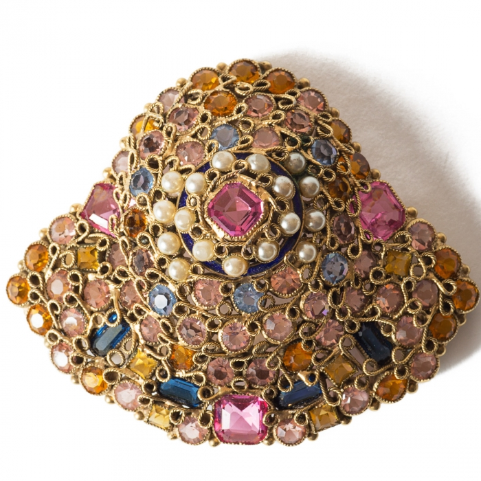 Vintage Hand Made Filigree Keystone Gems and Pearls Brooch, by Accesorycraft Robert, circa 1940's