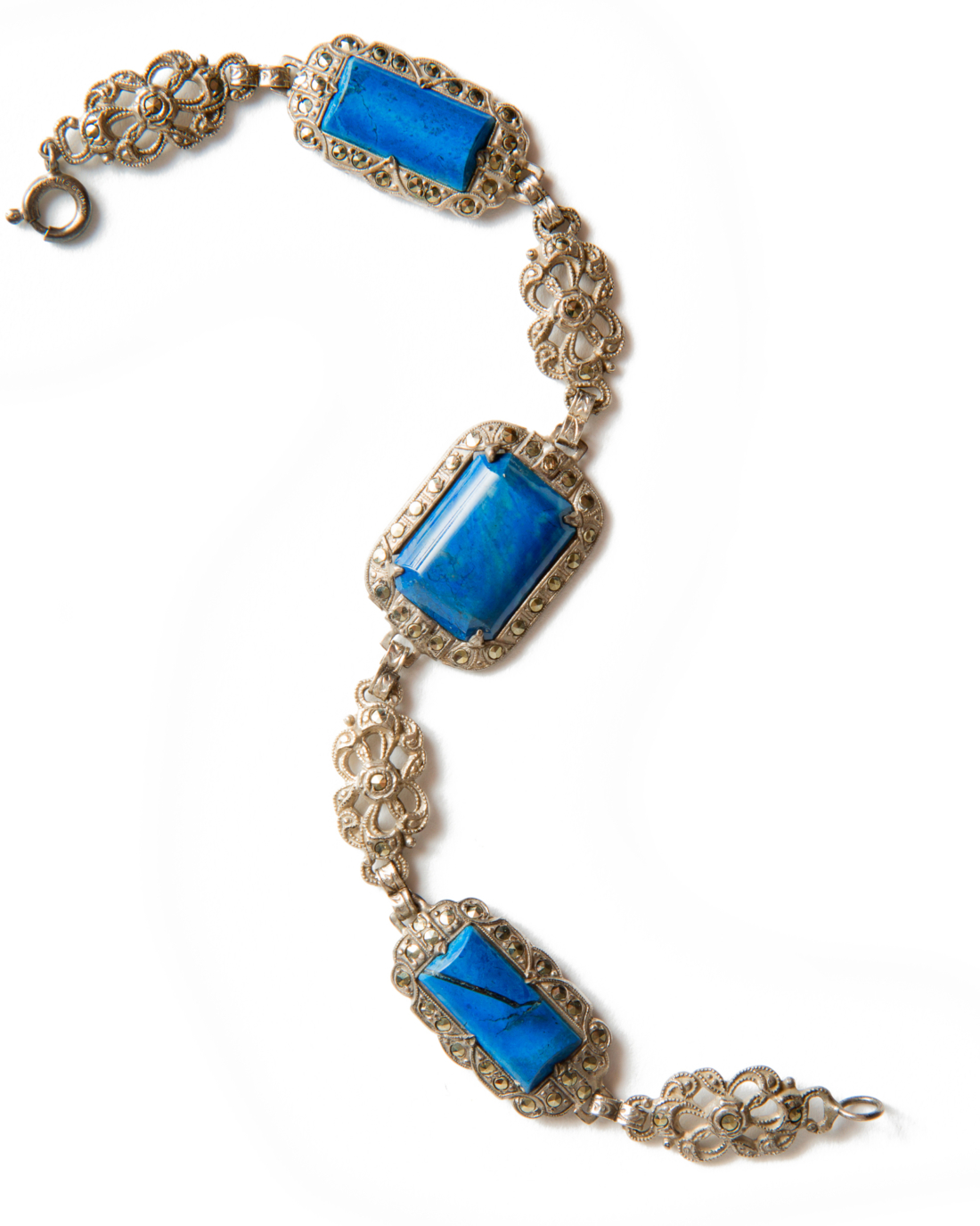 Art Deco Sterling Silver, Lapis, and Marcasite Bracelet, circa 1920's
