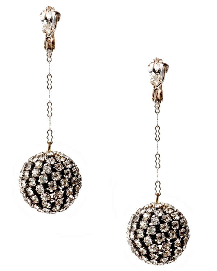 Vintage Art Deco Shimmering Rhinestone Ball And Chain Earrings, circa 1920's