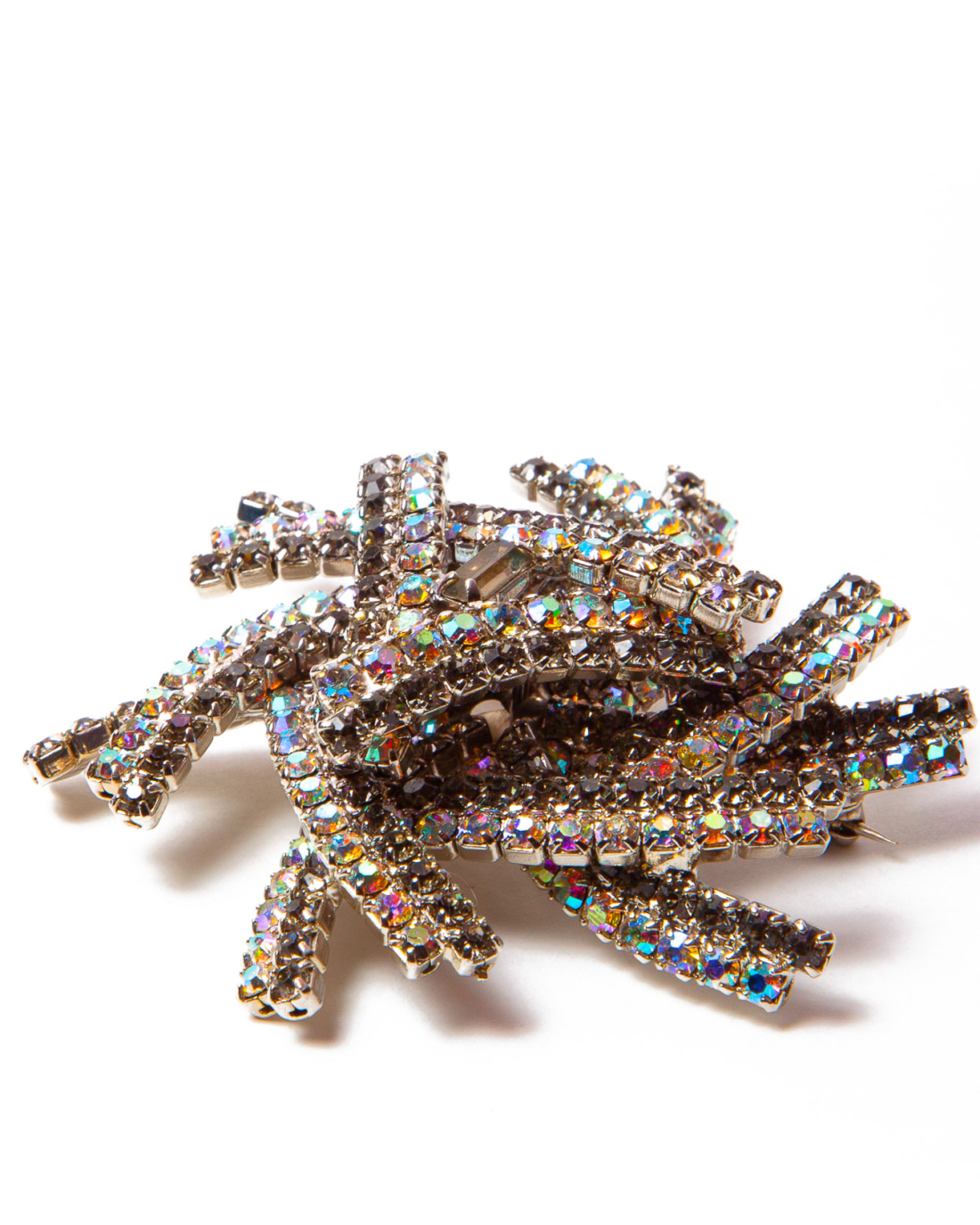 Black Diamond Swarovski and AB Crystal 3D Star Brooch, circa 1960's