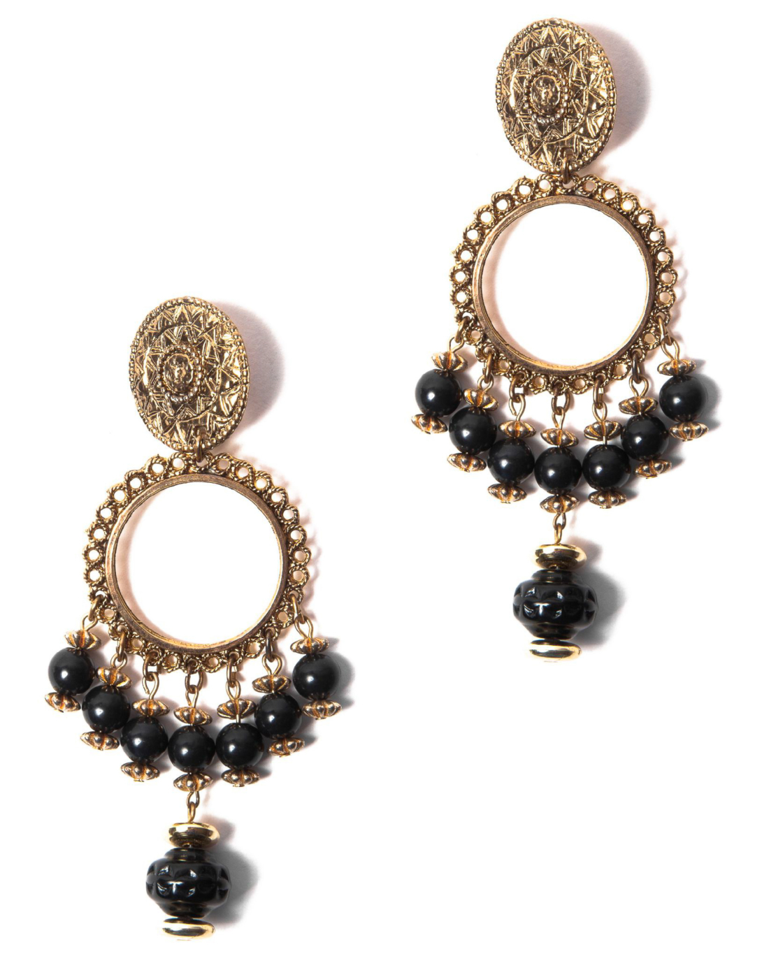 Black and Gold Beaded Gypsy Earrings, circa 1970's
