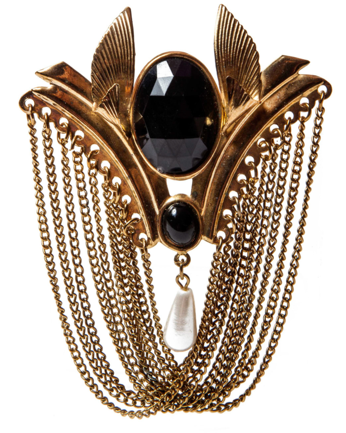 Vintage Black And Pearl Brooch Dripping In Gold Washed Chains, circa 1980's