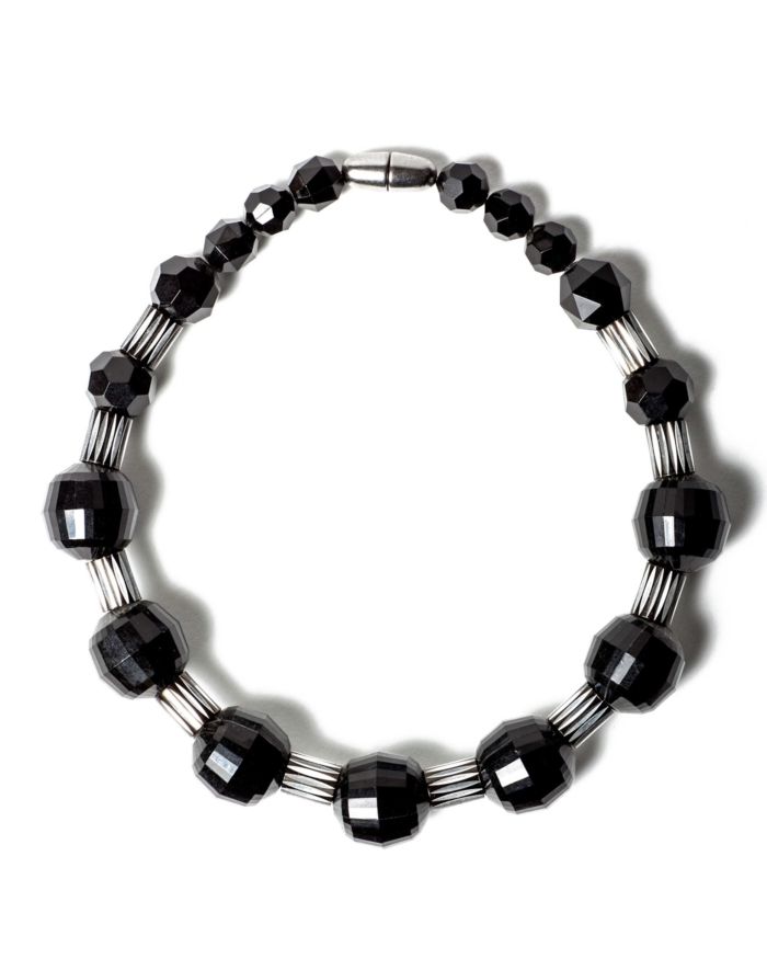 Black Lucite and Silver Lined Beaded Necklace, Circa 1960's