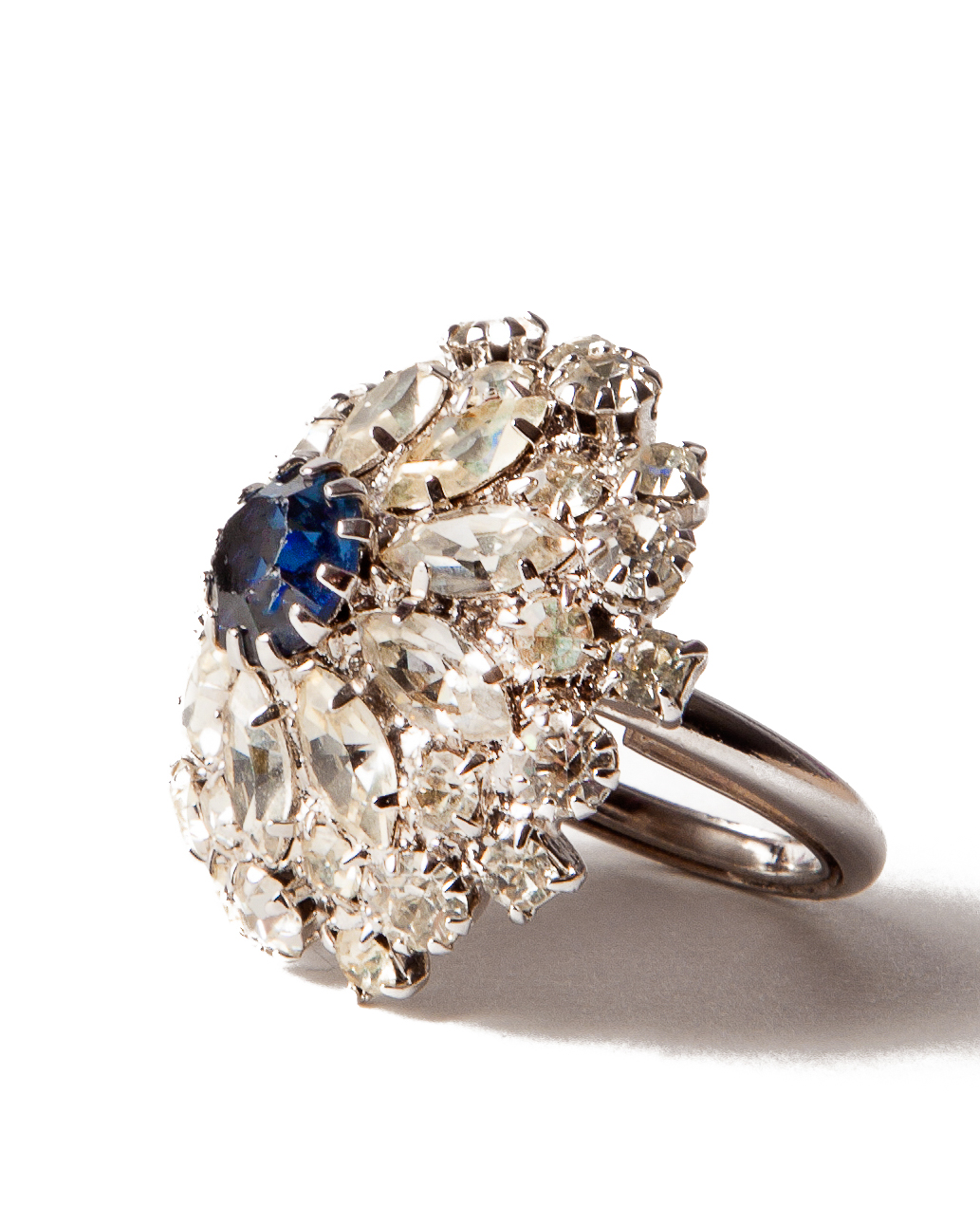 Blue Sapphire and Crystal Cocktail Ring, circa 1950's