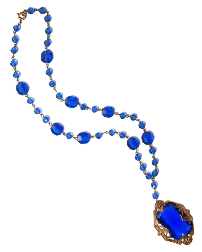 Cobalt Blue Faceted Czech Art Nouveau Brass Necklace, Circa 1910'S