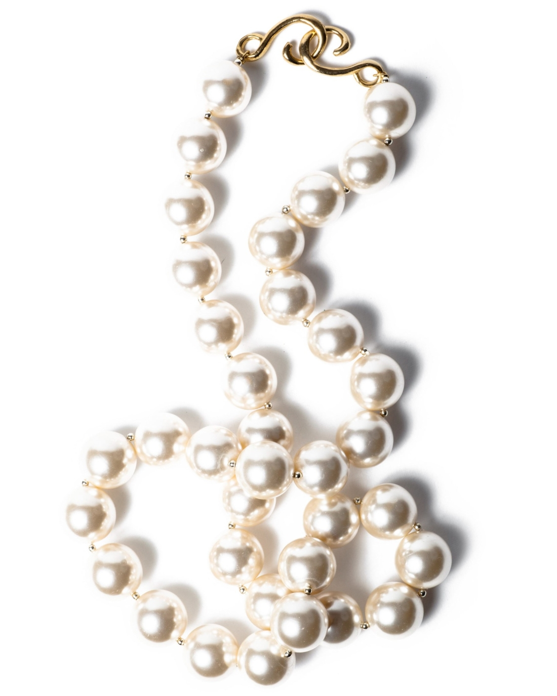 Vintage Long Glass Pearl Sautoir Necklace By Napier, Circa 1980's