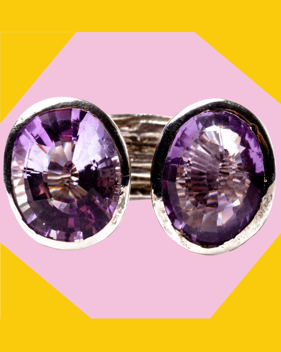 DOUBLE THE AMETHYST ON THE STERLING SILVER ROCKS RING, CIRCA 1990'S