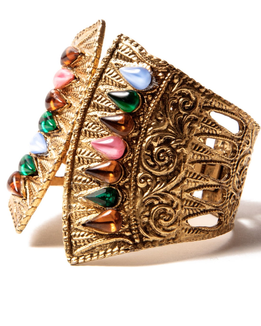 Egyptian Revival Gold Hinged Cuff Bracelet, By Hobe, circa 1960's