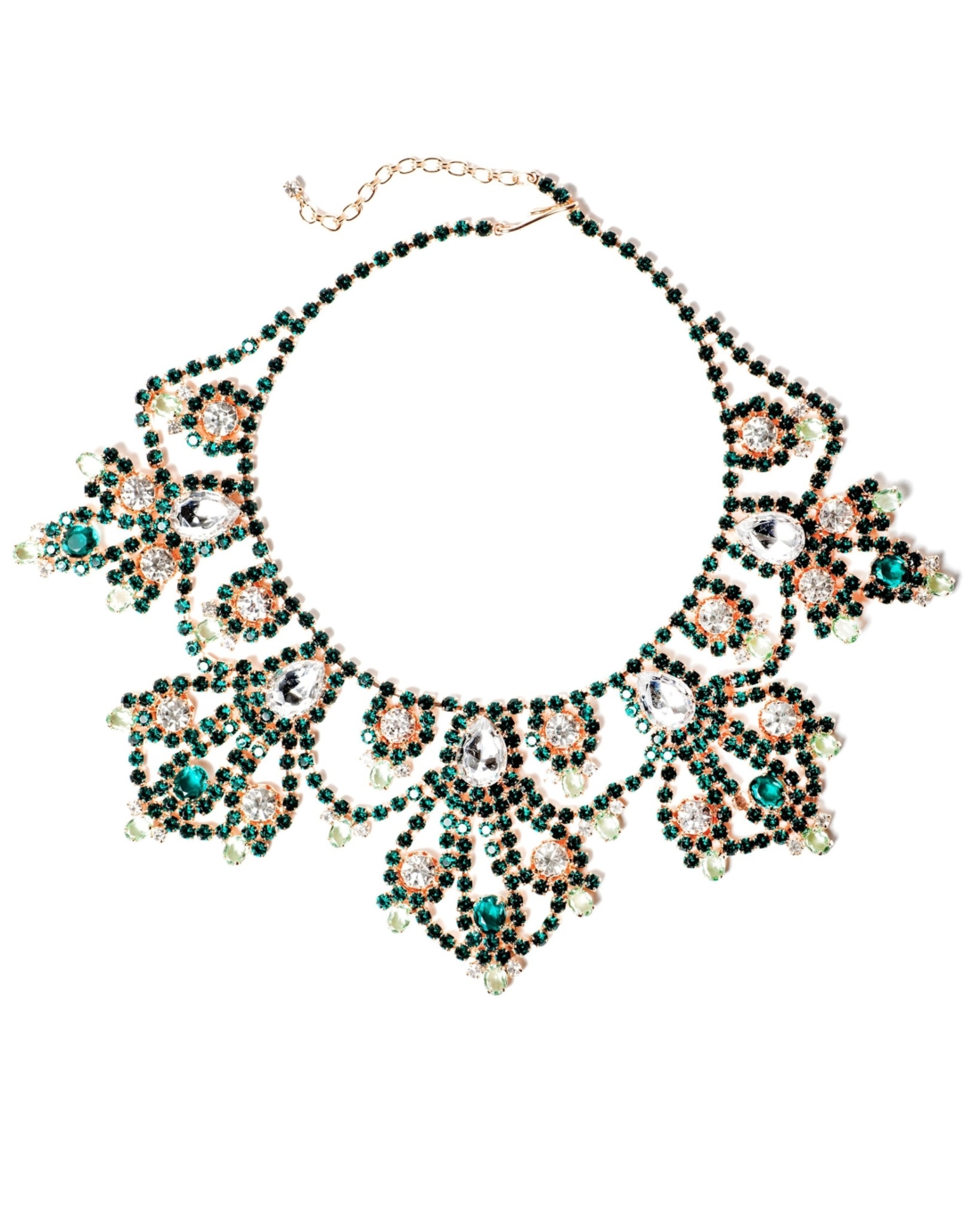 Emerald Green and Rhinestone Rose Gold Statement Necklace